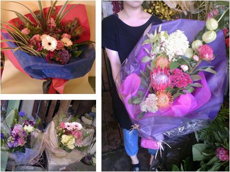 花束のラッピング例